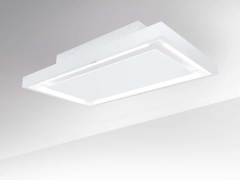 Weiß / Weißglas, 100 cm, Aktivkohle-Wabenfilter seitlich montiert
